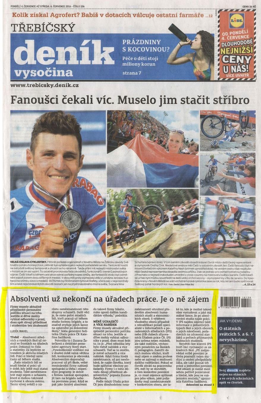 Třebíčský deník_tisk 1.strana